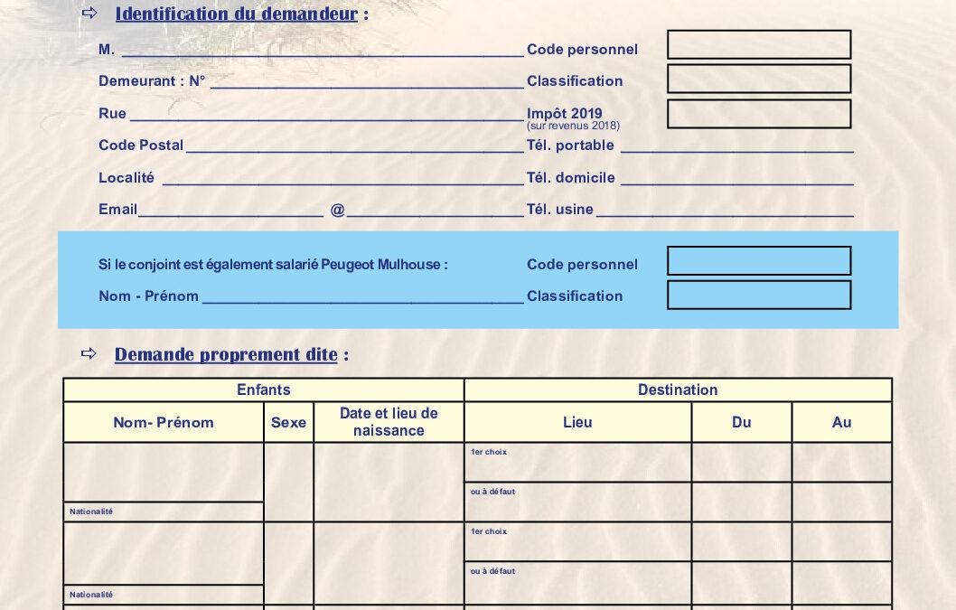 FORMULAIRE D'INSCRIPTION COLONIE DE VACANCES